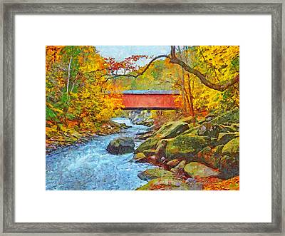 Framed Print featuring the digital art The Covered Bridge At Mcconnells Mill State Park by Digital Photographic Arts