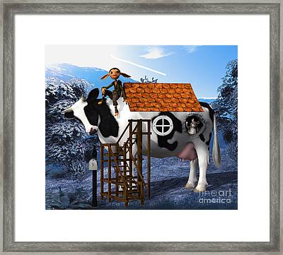 The Cow House Framed Print by Jutta Maria Pusl