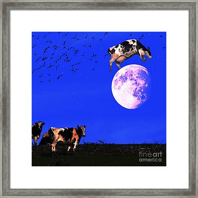 The Cow Jumped Over The Moon . Square Framed Print by Wingsdomain Art and Photography