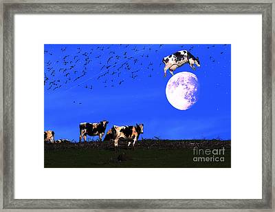 The Cow Jumped Over The Moon Framed Print by Wingsdomain Art and Photography