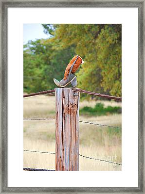 The Cowboy Boot Framed Print by Donna Greene