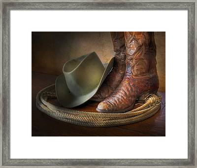 The Cowboy Boots, Hat And Lasso Framed Print by David and Carol Kelly