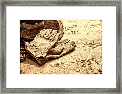 The Cowboy Gloves Framed Print by American West Legend By Olivier Le Queinec