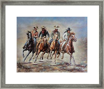 Framed Print featuring the painting The Cowboys by Harvie Brown