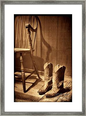 The Cowgirl Boots And The Old Chair Framed Print by American West Legend By Olivier Le Queinec