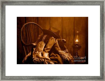 The Cowgirl Rest - Sepia Framed Print