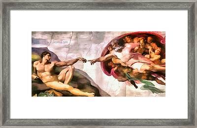 The Creation Of Adam By Michelangelo Revisited Framed Print by Leonardo Digenio