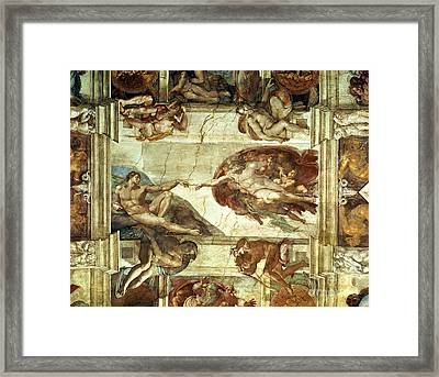 The Creation Of Adam Framed Print by Michelangelo