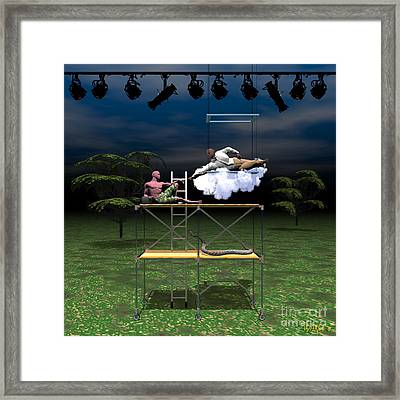 The Creation Of Adam Restaged Framed Print by Walter Oliver Neal