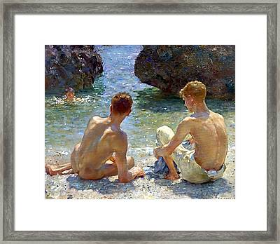 The Critics Framed Print by Henry Scott Tuke