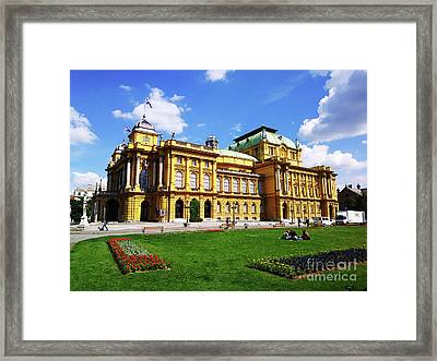 The Croatian National Theater In Zagreb, Croatia Framed Print by Jasna Dragun