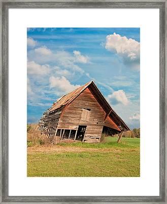 The Crooked Barn Framed Print by Kim Hojnacki