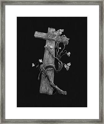 The Cross And The Vine Framed Print by Jyvonne Inman