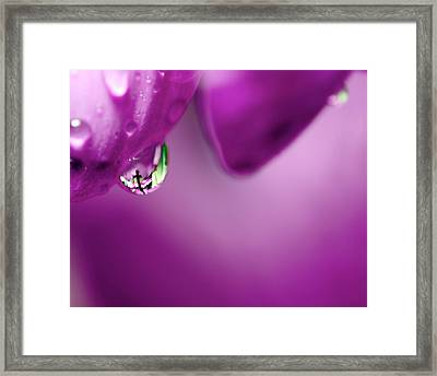The Cross In Reflective Purple Water Drop Framed Print