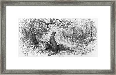 The Crow And The Fox Framed Print by Gustave Dore