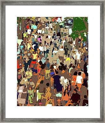 Framed Print featuring the painting The Crowd by David Lee Thompson