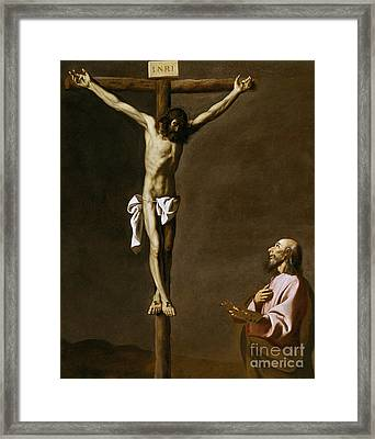 The Crucified Christ With A Painter Framed Print by Francisco de Zurbaran