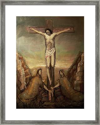 The Crucifixion Of Christ Framed Print by Derek Van Derven