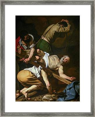 The Crucifixion Of Saint Peter Framed Print by Caravaggio