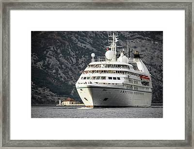The Cruise Ship Star Breeze Passing By The Islet Our Lady Of The Rocks Framed Print