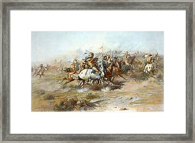 The Custer Fight Framed Print by Charles Marion Russell