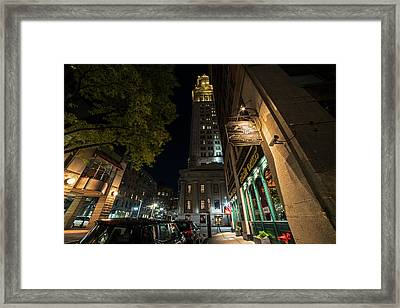 The Custom House Over The Black Rose Boston Ma Framed Print
