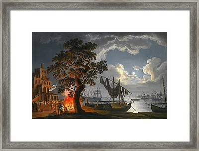 The Customs House Naples By Moonlight With Dancers And Musicians By A Fire Framed Print
