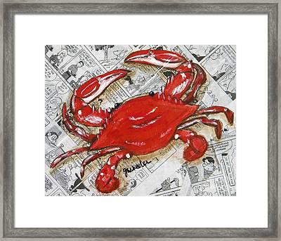 The Daily Crab Framed Print by JoAnn Wheeler