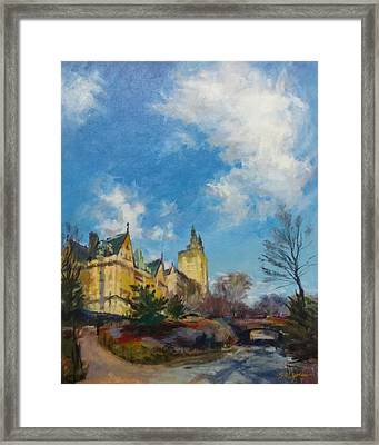 The Dakota And San Remo Towers From Central Park West Framed Print by Peter Salwen