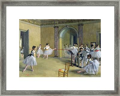 The Dance Foyer At The Opera On The Rue Le Peletier Framed Print