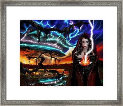 Framed Print featuring the painting The Dark Caster Calls The Storm by James Christopher Hill