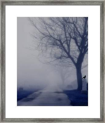 The Dark Foggy Graveyard Road Framed Print