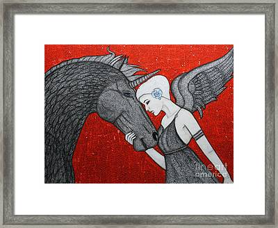 The Dark Unicorn Framed Print by Natalie Briney