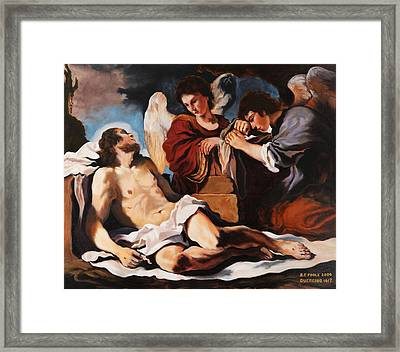 The Dead Christ Mourned By Two Angels Framed Print by Rebecca Poole