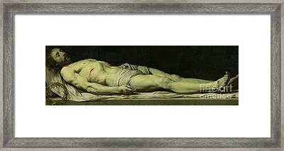 The Dead Christ On His Shroud Framed Print by Philippe de Champaigne