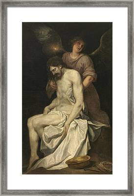 The Dead Christ Supported By An Angel Framed Print by Alonzo Cano