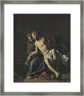 The Dead Christ Supported By The Virgin And Mary Magdalene Framed Print by Marco Antonio Bassetti