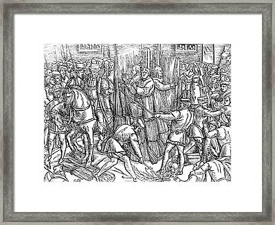 The Death And Burning Of The Most Constant Martyrs Of Christ Framed Print by English School