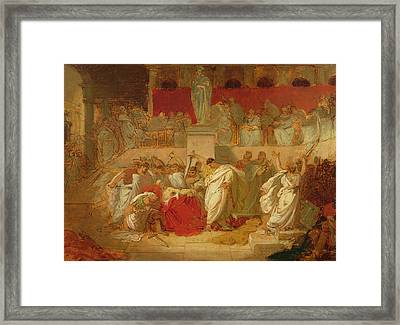 The Death Of Caesar  Framed Print by Vincenzo Camuccini