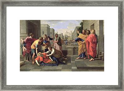 The Death Of Sapphira Framed Print by Nicolas Poussin