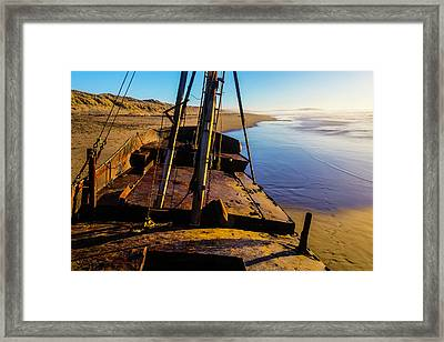 The Deck Of An Abandoned Boat Framed Print by Garry Gay