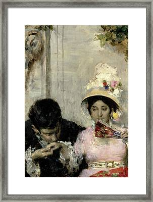 Marriage Proposal Framed Print featuring the painting The Declaration by Giacomo Favretto