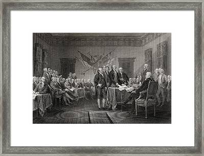 The Declaration Of Independence July Framed Print