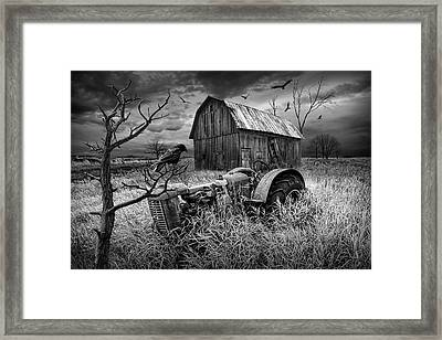 Framed Print featuring the photograph The Decline And Death Of The Small Farm In Black And White by Randall Nyhof