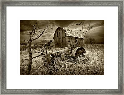 Framed Print featuring the photograph The Decline And Death Of The Small Farm In Sepia Tone by Randall Nyhof