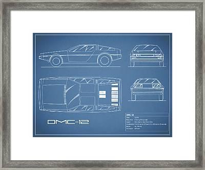 The Delorean Dmc-12 Blueprint Framed Print by Mark Rogan