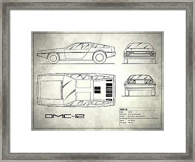 The Delorean Dmc-12 Blueprint - White Framed Print by Mark Rogan