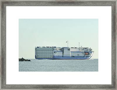 Framed Print featuring the photograph The Delta Mariner Heads To Sea by Bradford Martin