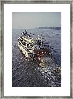 The Delta Queen, A Steamboat, Makes Framed Print by Ira Block