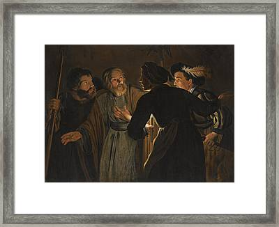 The Denial Of Saint Peter Framed Print by Follower of Gerard Seghers
